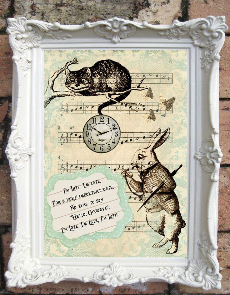 ALICE in Wonderland Quote Art Print. Shabby Chic Decor