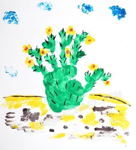 Handprint and Fingerprint Cactus - Click on image to see step-by-step tutorial.