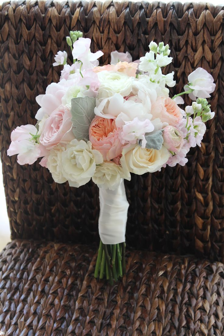 Allison Phalen Floral Design - peony, garden rose, sweet pea bouquet, peach, pink and cream wedding flowers