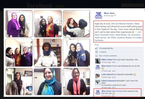 Minneapolis city hall declares 'hijab day' imposing islam there. This is a violation of the ESTABLISHMENT CLAUSE> Police chief ought to be fired. this is dhimmitude on steroids! 3-12-14