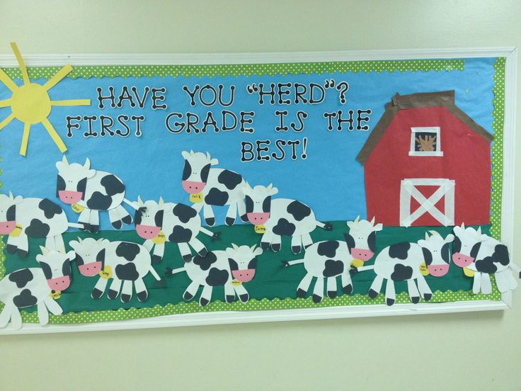 our farm unit bulletin board.  Megan Morris first grade teacher-- OH MY GOSH. I love cows and this will happen