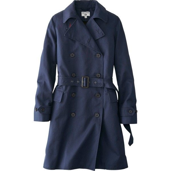 UNIQLO Women Idlf Trench Coat (8.585 RUB) ❤ liked on Polyvore featuring outerwear, coats, jackets, coats & jackets, navy, uniqlo, navy blue coat, fur-lined coats, uniqlo coats and blue coat