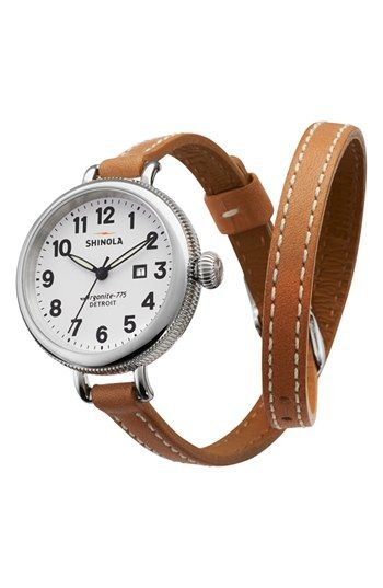 Free shipping and returns on Shinola 'The Birdy' Double Wrap Leather Strap Watch, 34mm at Nordstrom.com. A cleanly styled round watch set on a slender, double-wrapped leather strap offers a modernized take on a classic Americana style. The timepiece is assembled by Detroit craftsmen and features an innovative 50-part quartz movement made from Swiss and imported parts that powers three-hand time beneath a deftly curved sapphire crystal face.