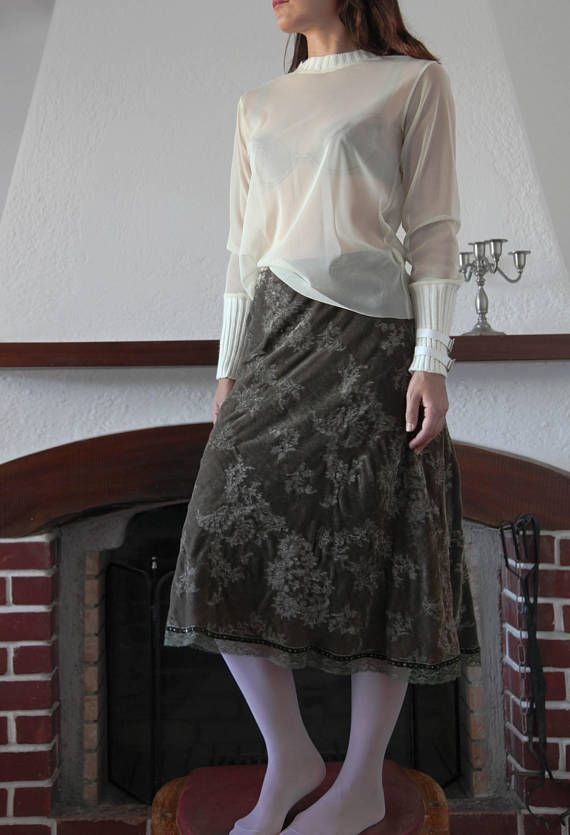 Vintage cream sheer tulle and knit wool long sleeve top shirt