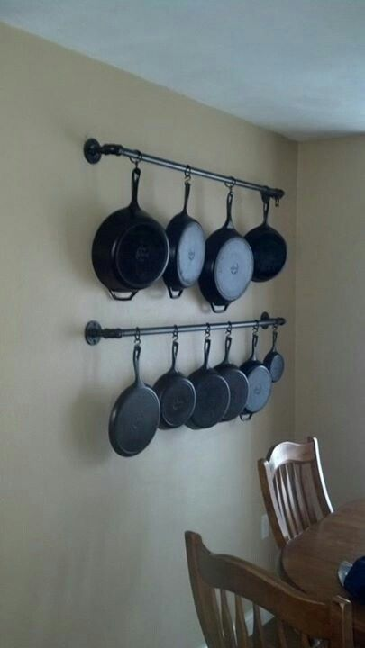 Display & storage idea. Posted by Irish McCarey Cruikshank on fb Cast Iron Cooking group in August of 2013. Ours is larger and was installed in January of 2014. We love it. <3