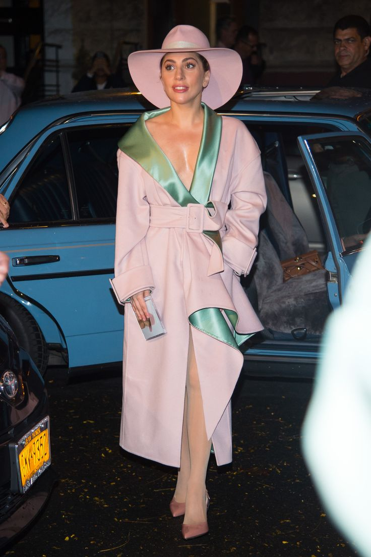 Lady Gaga was a vision wearing an #AtelierVersace pink cashmere coat with sage green satin details while out in New York. #VersaceCelebrities