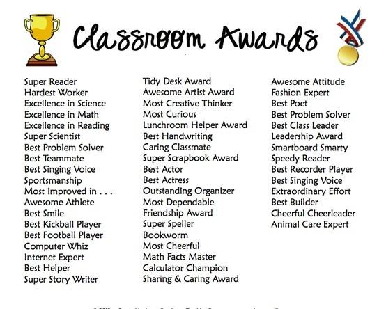 Classroom Award Categories | classroom ideas | Pinterest ...