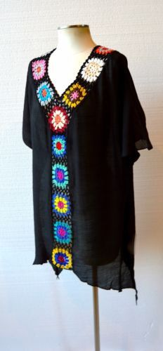 LA PLAYA Boho HAND CROCHET Granny Square Beach Kaftan Tunic Top Cream Black S-1X