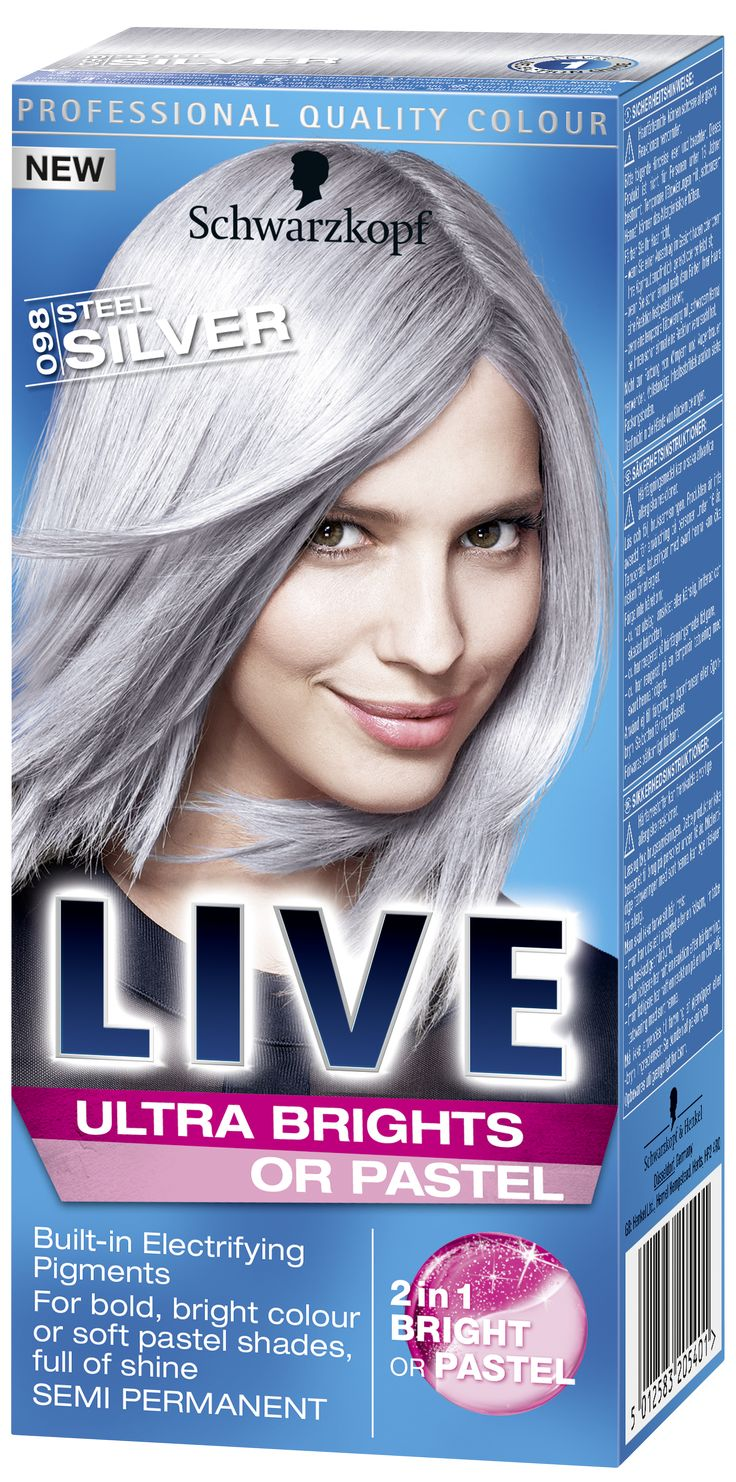 LIVE Ultra Brights or Pastel Steel Silver, silver hair dye