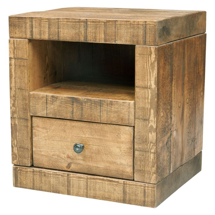 1 Drawer Cube Bedside Table made from top quality solid pine. Handmade right here in the UK with chunky rustic timber by our own expert craftsmen.