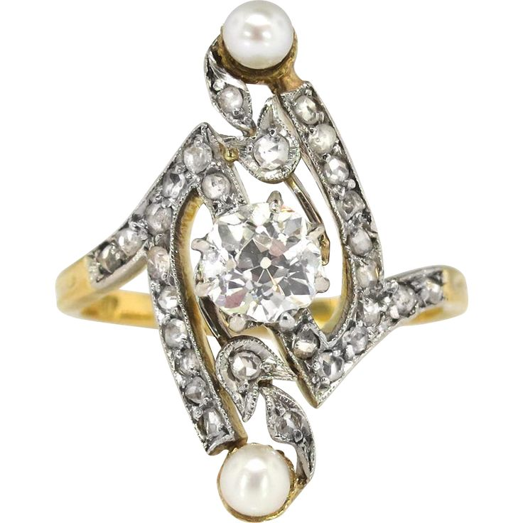 This rare early 1900's find has romance, and history! This Art Nouveau era ring is sparkling, charming, and is truly GORGEOUS. This ring features an