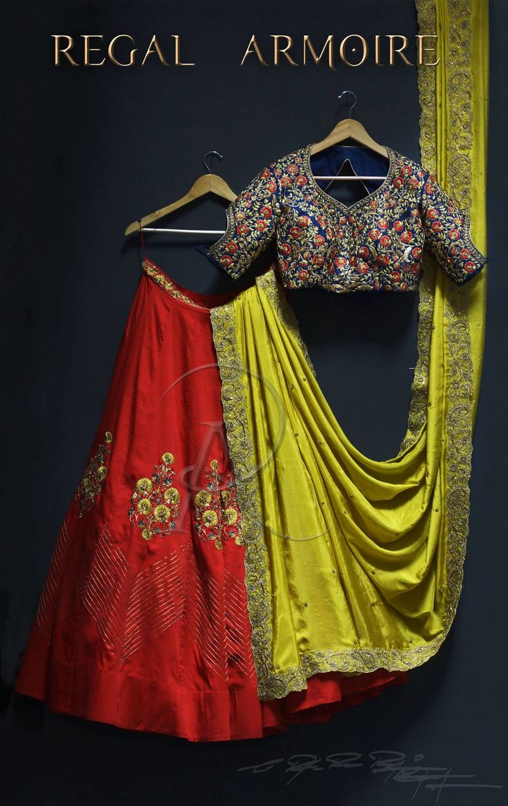 A custommade wedding outfit for one of Regal ArmoireBest muses from collection  the princess of Thanjavur in the ethnic combination. Beautiful red color designer lehenga blue color designer blouse with floral design hand embroidery thread work. Quotation: 8885500138  20 November 2017