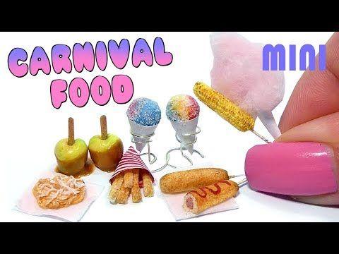 EASY Mini carnaval comida y meriendas Tutorial DIY miniatura embudo pastel, perro de maíz y más - YouTube
