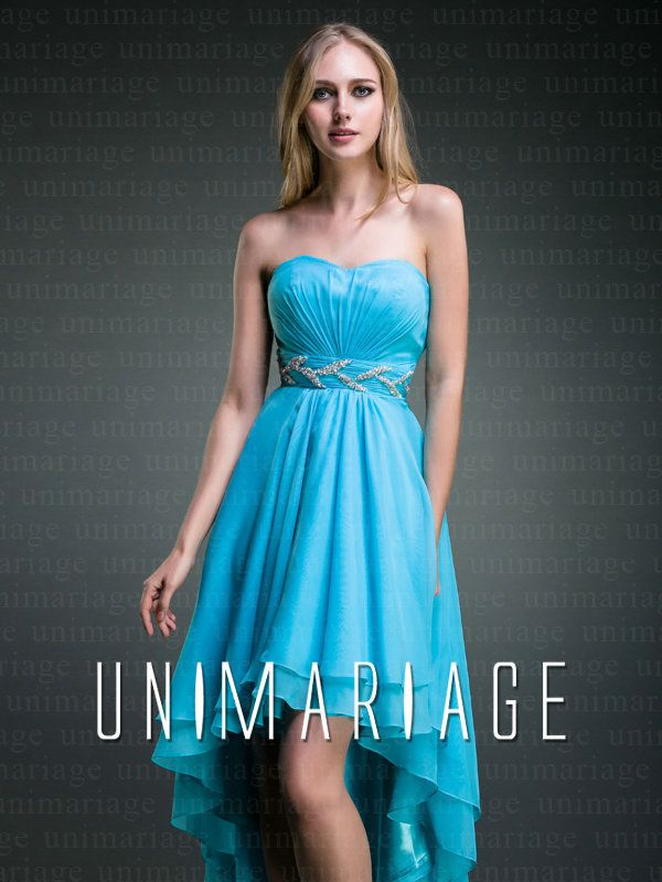bleue robe de cocktail courte devant longue derrière