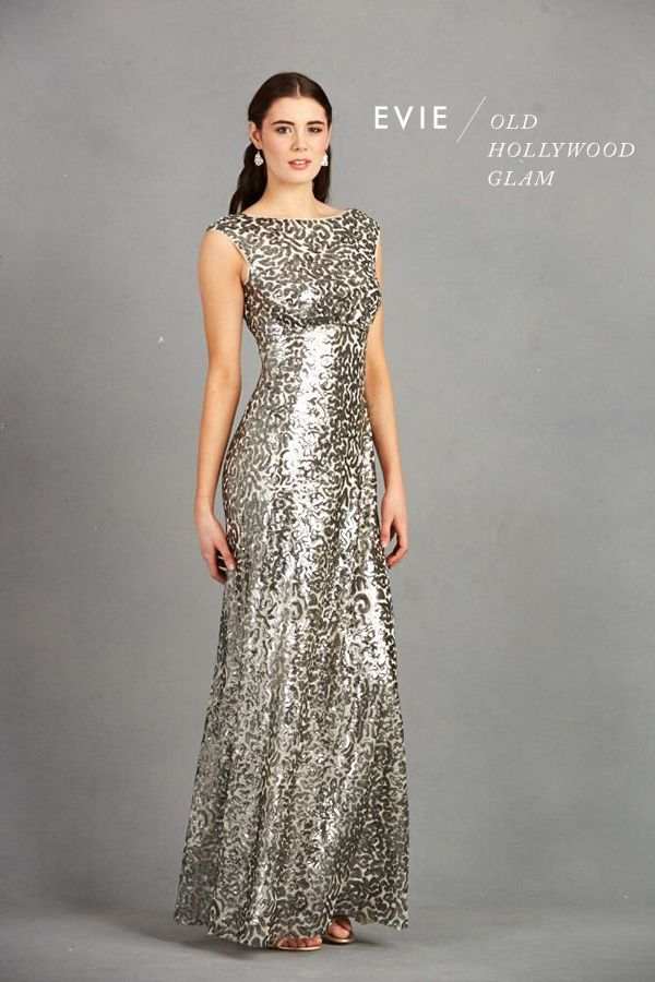 Floor Length metallic bridesmaid gown, silver bridesmaid gown for an old hollywood glam wedding