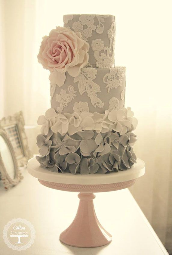 Beautiful Cake Pictures: Pretty Grey Ombre Ruffles & Lace Cake: Cakes, Cakes With Ruffles, Wedding Cakes