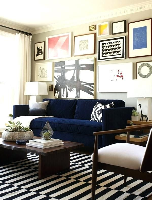 Dark Blue Sofa Navy Couch Black And White Carpet Tiles Wall Of Art