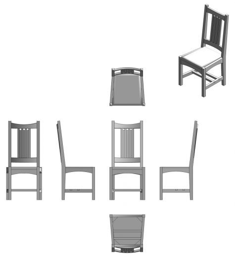 ortographic chair drawing