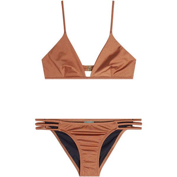 Melissa Odabash Bikini ($219) ❤ liked on Polyvore featuring swimwear, bikinis, swimsuit, gold, two piece swimsuits, two piece bathing suits, swimsuits two piece, two piece swimwear and swim suits