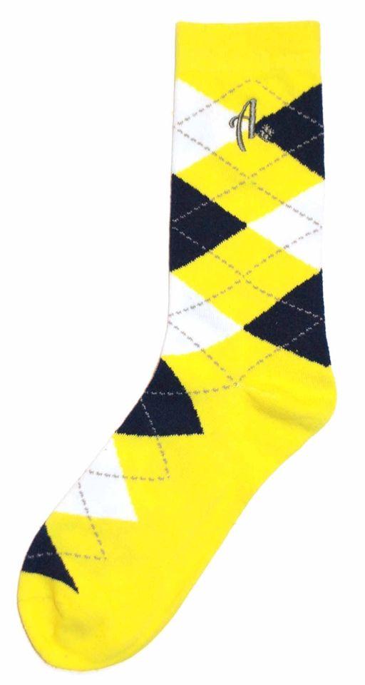 Mens Dress Sock - Argoz - Yellow Navy White Argyle