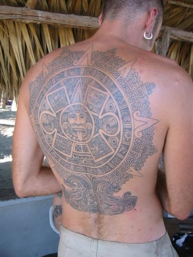 Piedra del sol large tattoo on back
