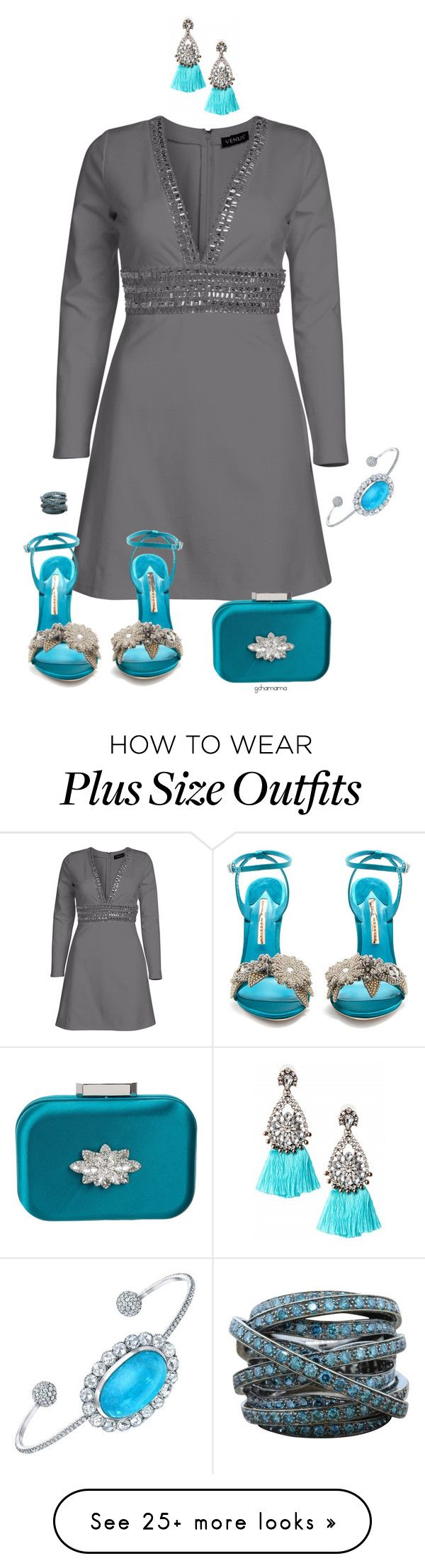 """Just because- plus size"" by gchamama on Polyvore featuring Venus, Sophia Webster, Badgley Mischka and Tamir"