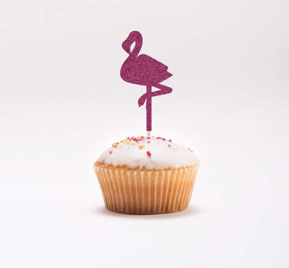 Fenicottero Cupcake Toppers - Glitter Cupcake Toppers - compleanno Cupcake Toppers - tema tropicale partito - estate compleanno Decor - Pink Party