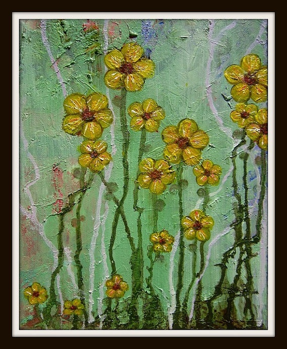 Small Original Flower Painting Yellow Daisies Acrylic on Canvas