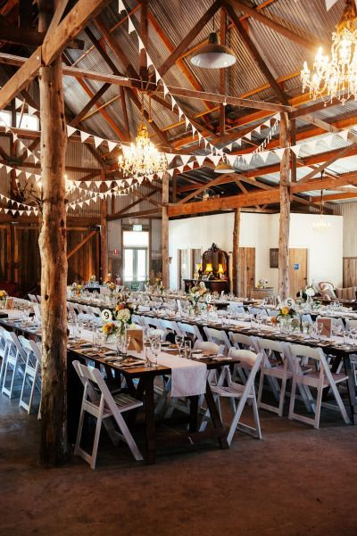 10 Gorgeous Barn Wedding Receptions - I like the pendants.  They would be easy to do and could be customized for color.