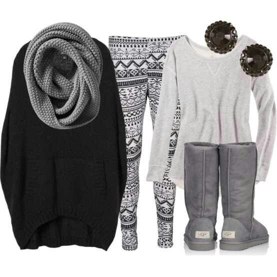 Winter Clothes. Tribal Leggings. Gray Scarf. Cutee. Teen Fashion. By-Lily Renee♥ follow (Iheartfashion14).