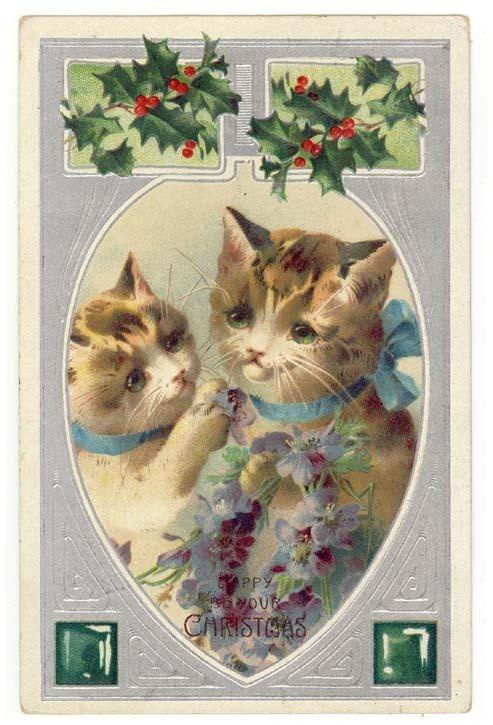 1908 Christmas Postcard Cats Christmas Cats Pinterest
