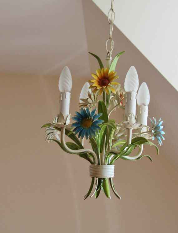 Discount lamp chandelier suspended Lampshade daisies vintage metal / light ceiling France / Holy10