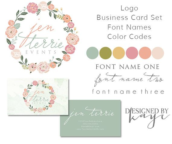 Business Branding Identity Set, Premade Logo, Watermarks, Business Card Set, Font Names and Color codes. Floral and watercolor