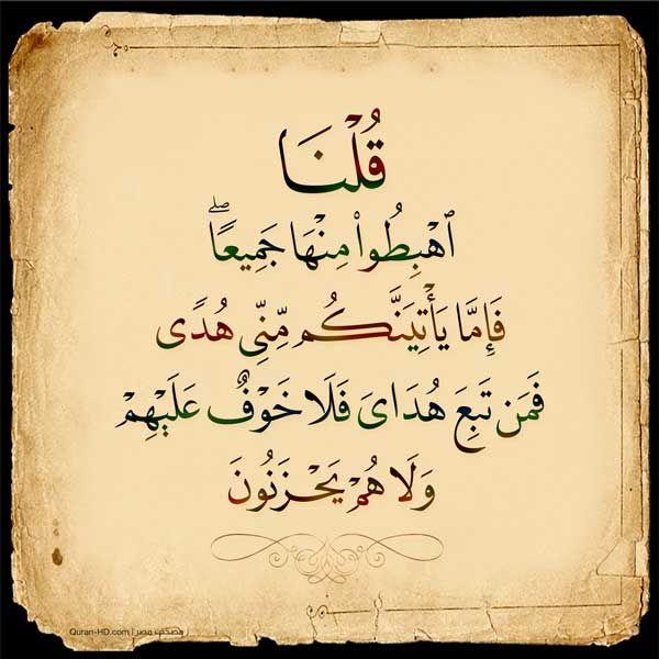 002038 قلنا اهبطوا منها جميعا فإما يأتينكم مني هدى فمن تبع هداي فلا خوف عليهم ولا هم يحزنون Islamic Quotes Quran Allah Love Quran