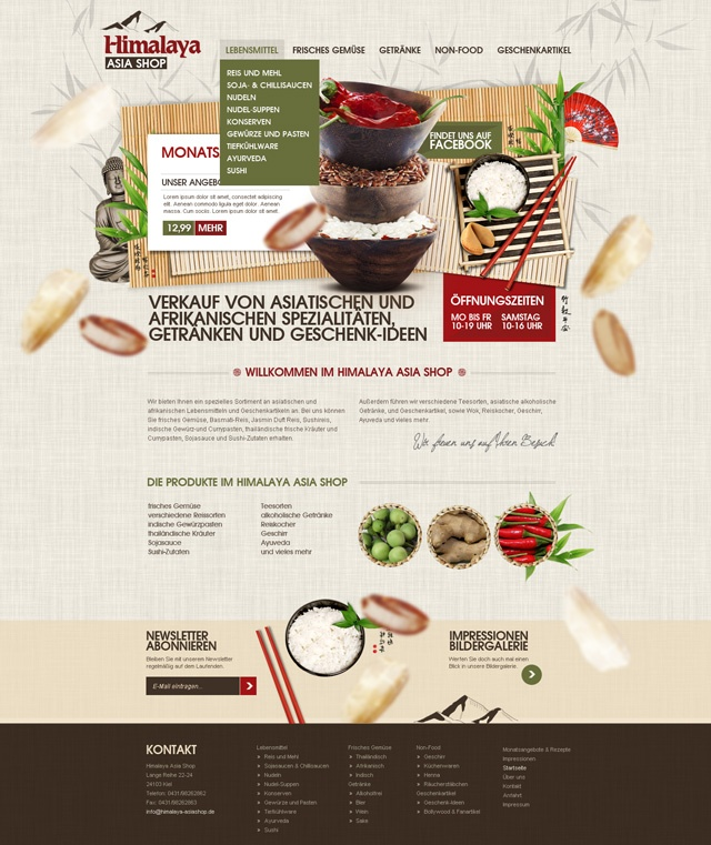 Himalaya Asiashop - Webseitengestaltung, Verspieltes Webdesign, Screendesign