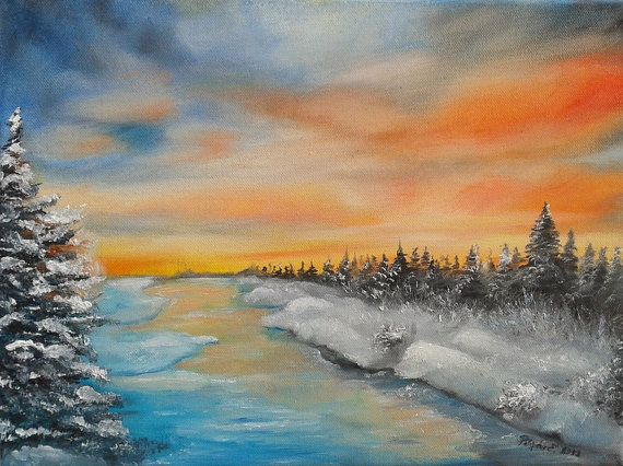 ORIGINAL  contemporary oil painting winter landscape by Pilipart, $150.00