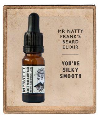 Mr Natty Frank's Beard Elixir.  Josef recenserar skäggolja. http://testpiloterna.wordpress.com/2013/12/20/skaggolja-vilken-grej/