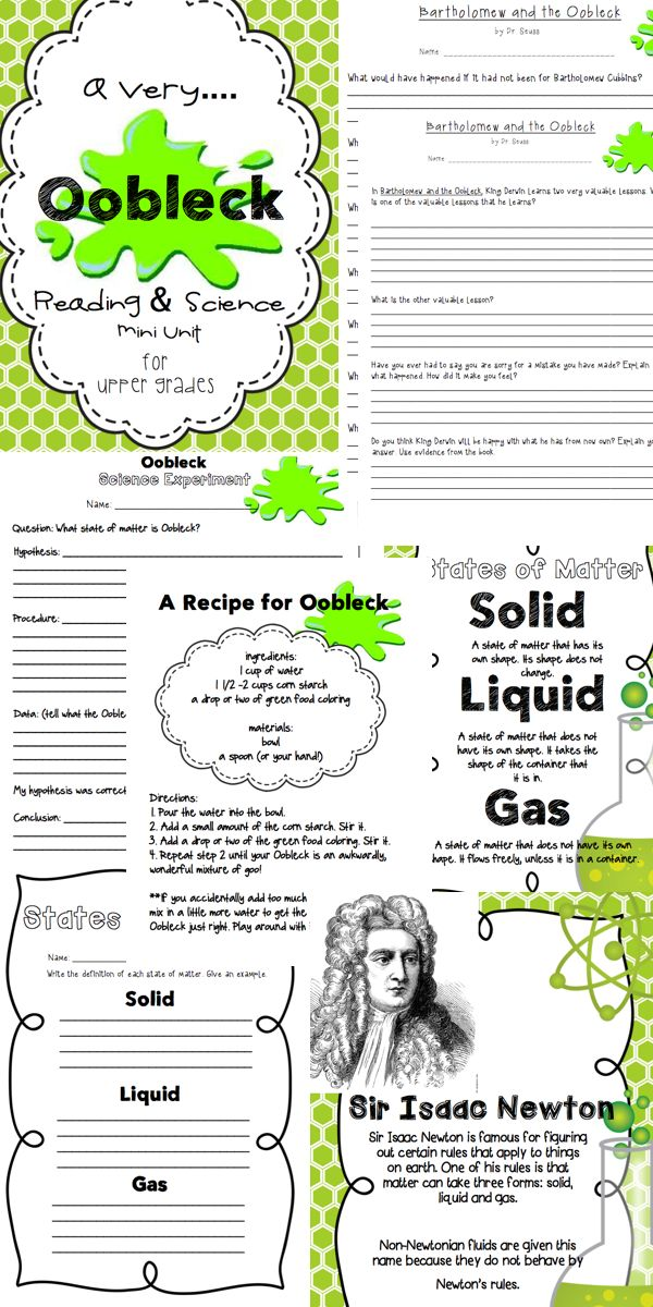 Unit 3 Worksheet 2 Dr Saul : Oobleck a reading science mini unit
