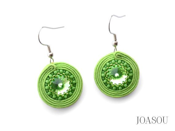Greenery earrings, green dangle earrings, green crystal earrings, birthday gift for her, greenery jewellery, unique embroidered earrings