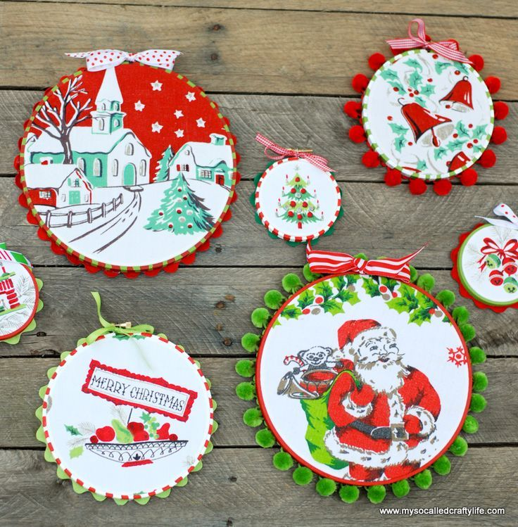 DIY Easy Upcycled Vintage Fabric Holiday Hoop Art