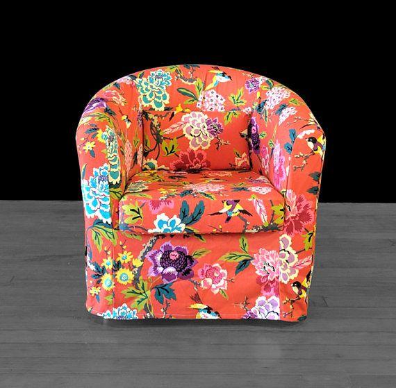 Custom Red Flower Floral IKEA TULLSTA Chair Slip Cover