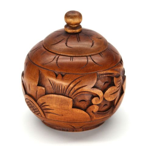 "SETI WOOD BOX Spherical box with lid carved from mahogany wood. 5.6"" x 4.8"". Handmade by talented artisans in developing countries. Imported."