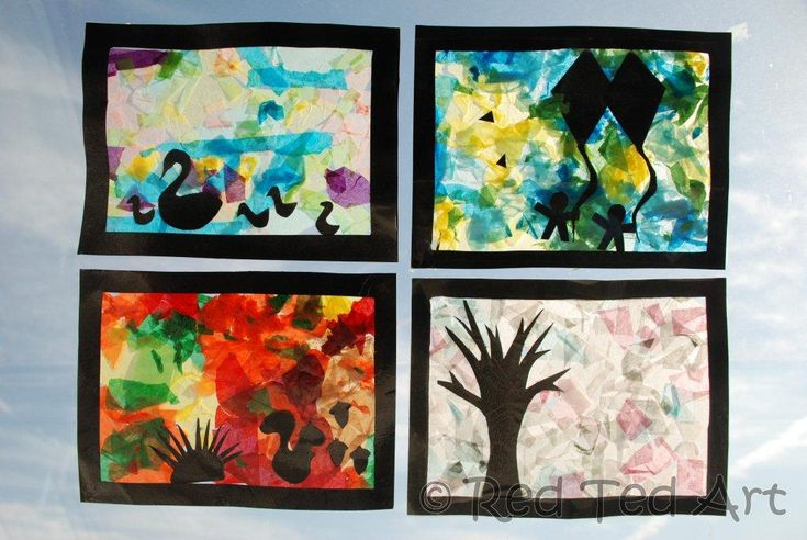 """Exploring the four Seasons with Kids. Beautiful """"stained glass"""" windows from Red Ted Art"""