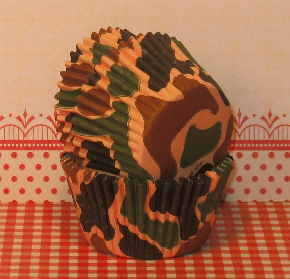 Camouflage Cupcake Liners  40 by sweettreatssupplies on Etsy, $4.00