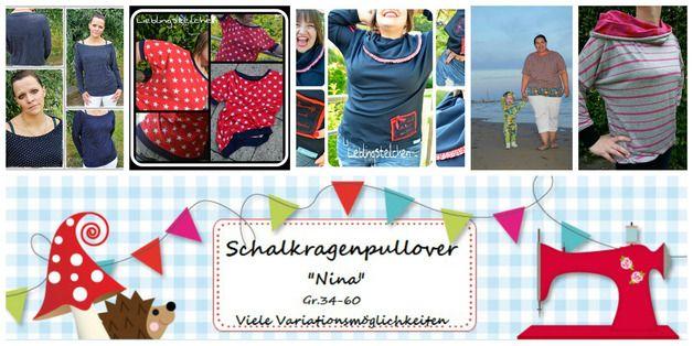 Nähanleitungen Baby - E Book Damen Oversize Schalkragen Pulli Nina 34-60 - ein Designerstück von Lolletroll bei DaWanda