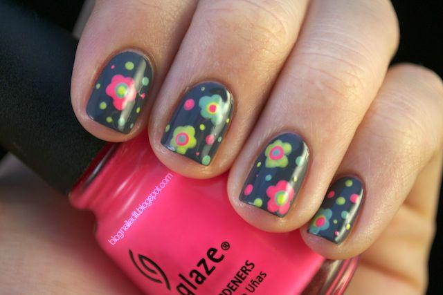 1-9-12b: Nails Art, Art Blog, Cute Nails, Flower Tutorials, Flower Nails, Neon Flower, Polka Dots Nails, Dots Tools, Nails Polish