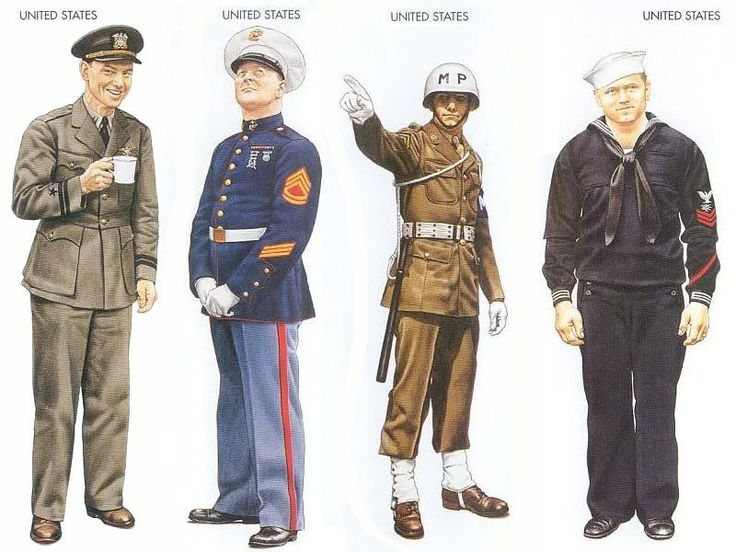 World War II Uniforms - United States – 1941 Dec., Pacific Ocean, Lieutenant (aviator), USS Enterprise United States – 1941 Dec., Washington, Gunnery Sergeant, Marine Corps United States – 1942 Dec., London, Corporal, US Army Military Police United States – 1942 Nov., Atlantic Ocean, Petty Officer 1st Class, Task Force 34