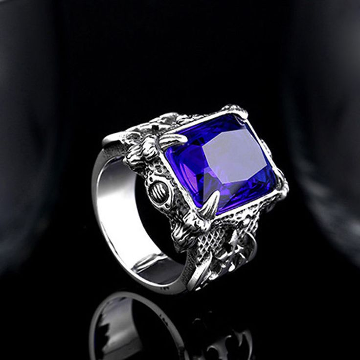 Mens Jewelry Sapphire Zircon Gem 316L Stainless Steel Warrior Ring R233 Sz 7-13