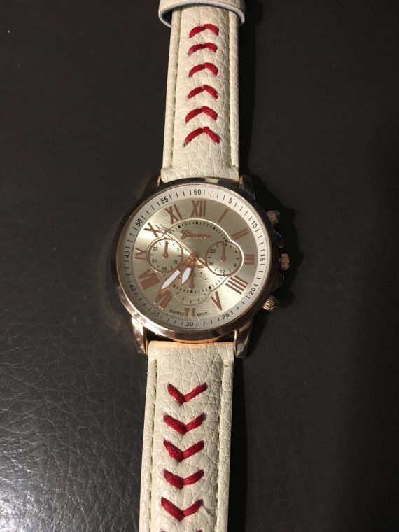 ◔❁ Womens Baseball themed watch with red stitching, off-white textured ba... http://etsy.me/2fkrO0r