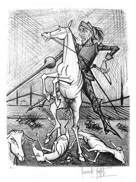 Buffet Bernard : Lithographie : Don Quichotte, cheval et pique
